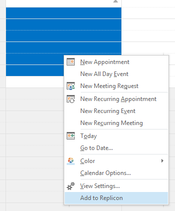 Outlook Add-In for Replicon